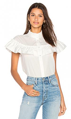 Рубашка из поплина на пуговицах с рюшами BLAQUE LABEL. Цвет: белый