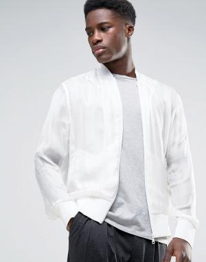 Weekday Куртка-бомбер Press Benjamin. Цвет: белый