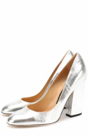 Туфли из металлизированной кожи на устойчивом каблуке Sergio Rossi. Цвет: серебряный