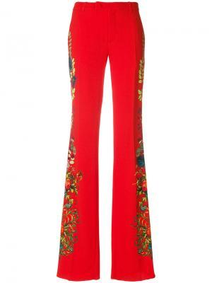 Расклешенные брюки с цветочным принтом Etro. Цвет: красный