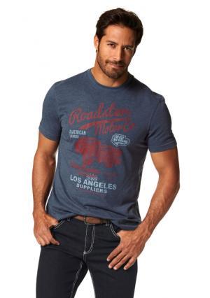 Футболка Arizona. Цвет: красный меланжевый, синий/меланжевый