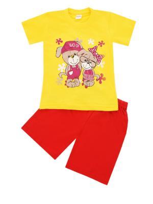 Комплект: футболка, шорты Sladikmladik. Цвет: желтый, красный