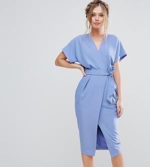 Closet London Платье с короткими рукавами и поясом. Цвет: синий