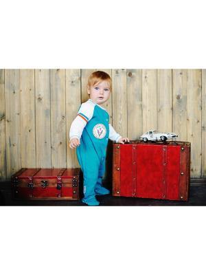 Комбинезон Формула 1 (футер) Lucky Child. Цвет: зеленый