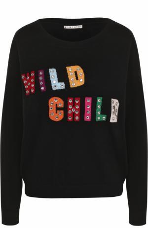 Шерстяной пуловер с круглым вырезом Alice + Olivia. Цвет: черный
