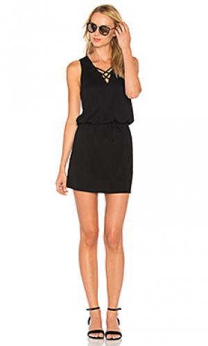 Платье с перекрестными шлейками Lanston. Цвет: черный
