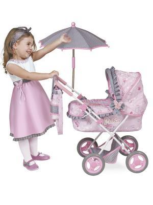 Коляска с сумкой и зонтом, Мария, 65 см. DeCuevas. Цвет: розовый, серый