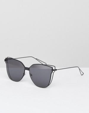 AJ Morgan Черные солнцезащитные очки кошачий глаз с плоскими стеклами. Цвет: черный