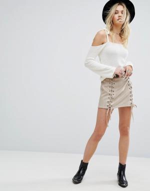 Honey Punch Мини-юбка со шнуровкой. Цвет: серый