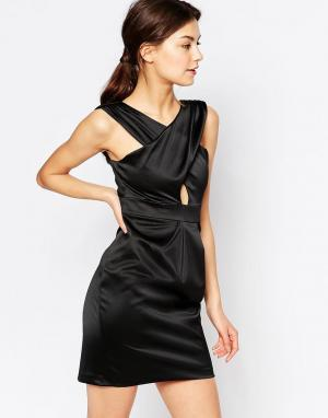 Hedonia Платье мини с перекрестной драпировкой спереди Jemima. Цвет: черный