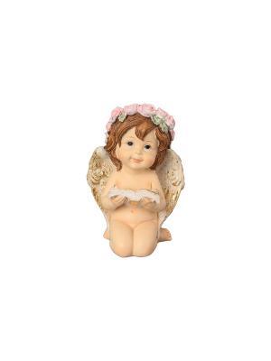 Фигурка декоративная Ангелочек в венке с книгой Elan Gallery. Цвет: бежевый, золотистый, коричневый