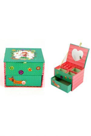 Шкатулка для украшений Русские подарки. Цвет: зеленый, розовый