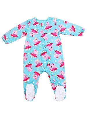 Комбинезон для сна Мишки на роликах Little Me. Цвет: голубой, розовый