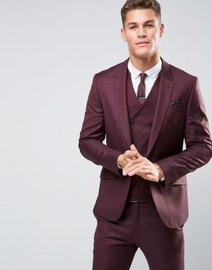 ASOS Зауженный пиджак из 100% шерсти. Цвет: фиолетовый