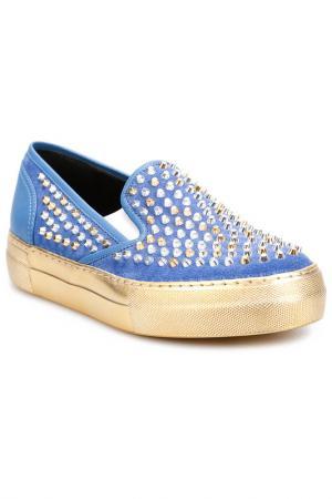 Слипоны Grey Mer. Цвет: blue, gold