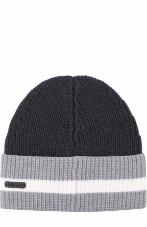 Шерстяная шапка бини Z Zegna. Цвет: темно-серый