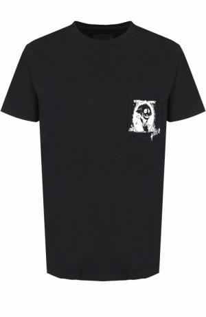 Хлопковая футболка с круглым вырезом RTA. Цвет: черный