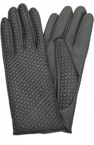 Кожаные перчатки с плетением Agnelle. Цвет: темно-синий