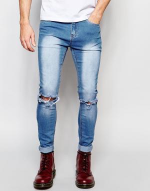 Liquor & Poker Стираные джинсы скинни с рваными коленями. Цвет: синий
