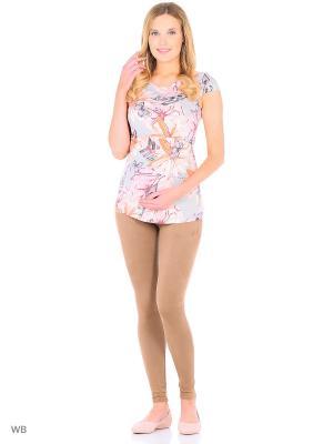 Блузка для беременных и кормления 40 недель. Цвет: светло-серый, оранжевый, розовый