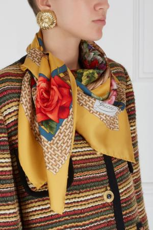 Платок (90-е) Gucci Vintage. Цвет: желтый