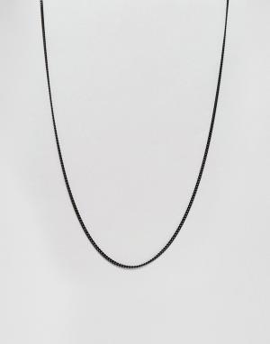 MISTER Черное ожерелье из цепочки с крупными звеньями. Цвет: черный