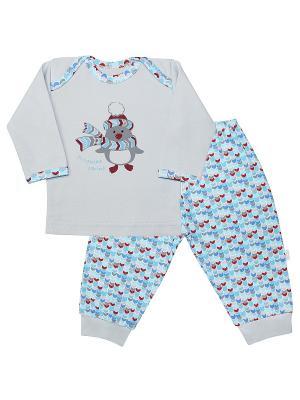 Пижама Веселый малыш. Цвет: бирюзовый, голубой, светло-серый