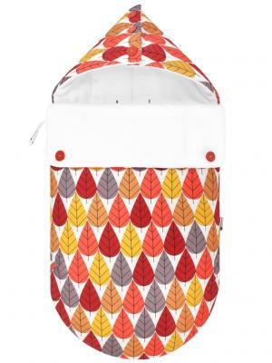 Конверт для новорождённого в автокресло Листопад (зимний) MIKKIMAMA. Цвет: красный, оранжевый, желтый, белый, серый, бежевый