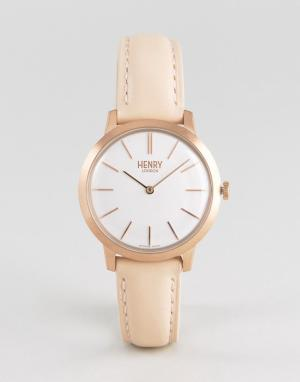 Henry London Часы с розовым кожаным ремешком 34 мм. Цвет: розовый