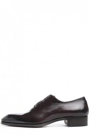 Классические оксфорды из гладкой кожи Tom Ford. Цвет: темно-фиолетовый