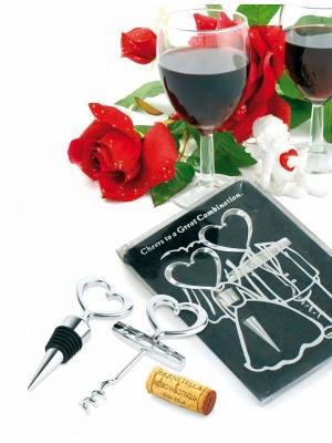 Набор подарочный: пробка и штопор ЖЕНИХ НЕВЕСТА BRADEX. Цвет: серебристый