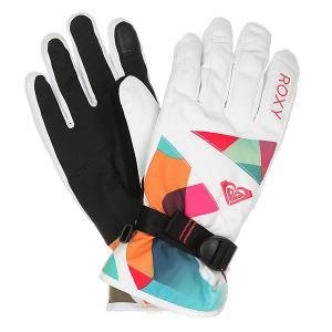Перчатки сноубордические женские  Jetty Gloves Milo Typo Bright Whi Roxy. Цвет: белый,мультиколор