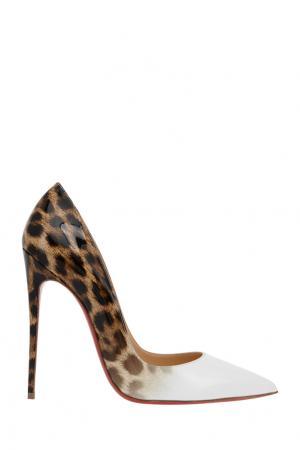 Туфли из лакированной кожи So Kate 120 Christian Louboutin. Цвет: белый, леопардовый