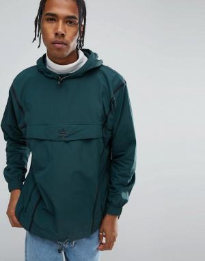 Adidas Originals Зеленый анорак с отделкой кантом Chicago Pack BR5077. Цвет: зеленый