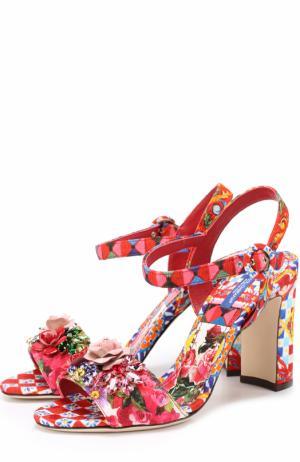 Босоножки Keira из текстиля с принтом и аппликациями Dolce & Gabbana. Цвет: разноцветный