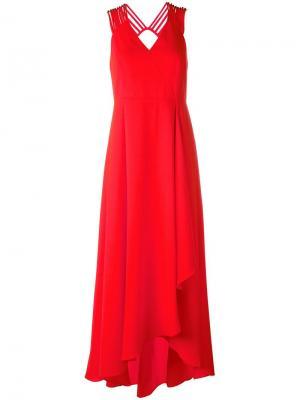Асимметричное платье с драпировкой Halston Heritage. Цвет: жёлтый и оранжевый