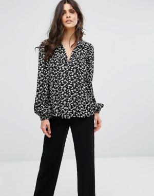 BA&SH Рубашка с цветочным принтом. Цвет: черный