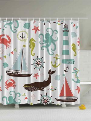 Фотоштора для ванной По морям, волнам, 180*200 см Magic Lady. Цвет: белый, черный, зеленый, салатовый, голубой, молочный, красный