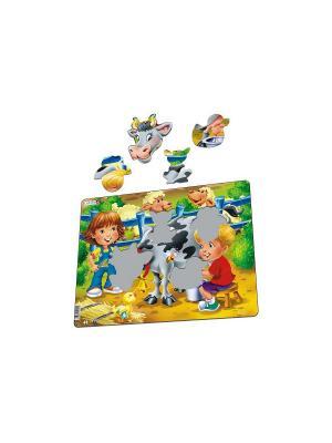 Пазл Дети на ферме. Корова LARSEN AS. Цвет: зеленый, белый, голубой, желтый, оранжевый, синий