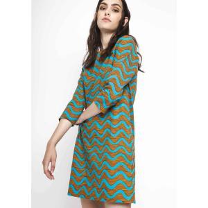 Платье короткое с рукавами 3/4 COMPANIA FANTASTICA. Цвет: синий/ оранжевый