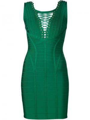 Облегающее платье Caylin Hervé Léger. Цвет: серый
