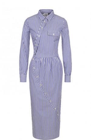 Хлопковое платье-миди в полоску Stella Jean. Цвет: синий