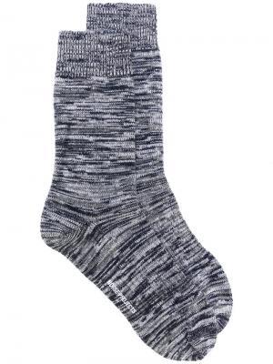 Меланжевые носки Norse Projects. Цвет: синий