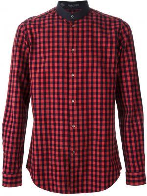 Рубашка в клетку с воротником-стойкой Vangher. Цвет: красный