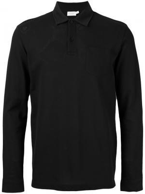 Рубашка-поло с длинными рукавами Sunspel. Цвет: чёрный