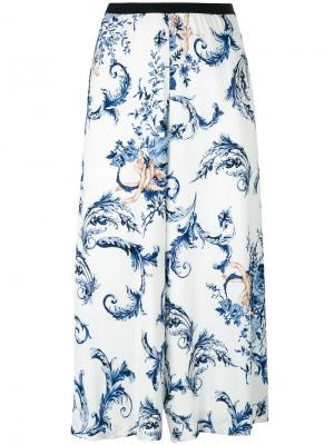 Укороченные брюки с цветочным принтом Antonio Marras. Цвет: синий