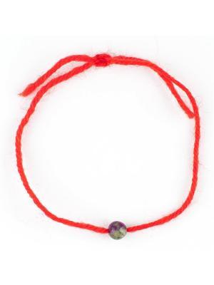 Браслет Красная нить цоизит Колечки. Цвет: зеленый