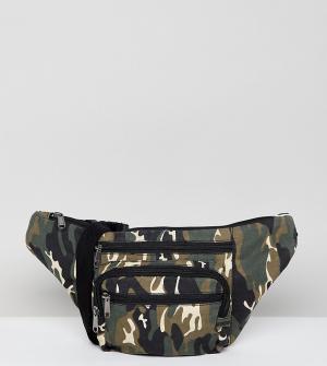 Reclaimed Vintage Фестивальная сумка-кошелек на пояс с камуфляжным принтом Vin. Цвет: зеленый