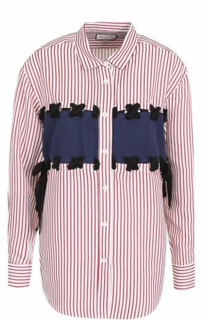 Блуза в полоску со шнуровкой Paul&Joe. Цвет: белый