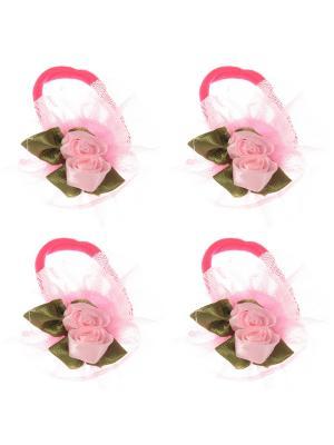 Бантики для волос на длинных резинках с розочками, набор 2 по шт, светло-розовые Радужки. Цвет: бледно-розовый